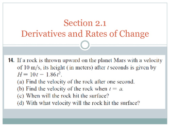 Derivative & Rate of Change Problem