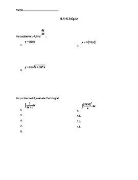 Derivatives and Integrals of Logarithms Quiz