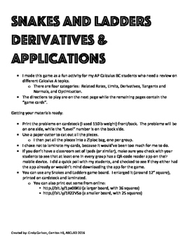 Derivatives and their Applications - for Calculus AB or BC