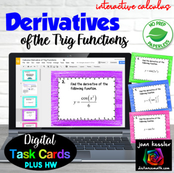 Derivatives of Trig Functions Digital Task Cards with GOOG