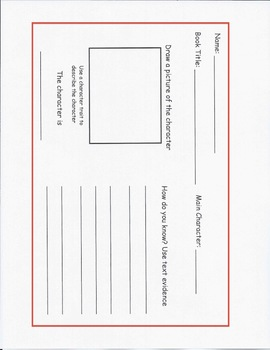 Describe-A-Character Graphic Organizer