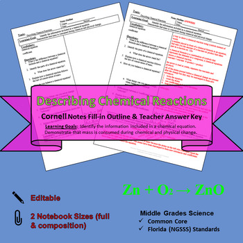 Describing Chemical Reactions Cornell Notes #44