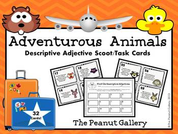 Descriptive Adjective Scoot/Task Cards (Adventurous Animals)