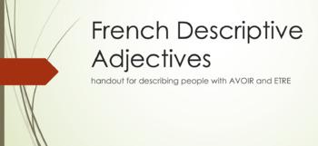 Descriptive Adjectives : handout for descriptions with AVO
