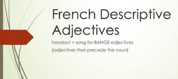 Descriptive Adjectives : handout & song for adjectives tha