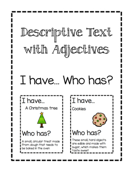 Descriptive Text with Adjectives- I Have Who Has Game