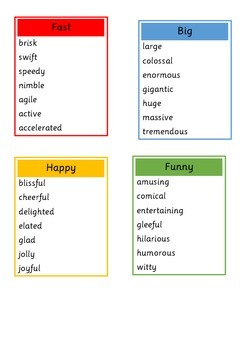 Descriptive Words Display