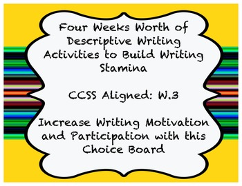 Descriptive Writing - 4 Weeks Worth of Writing - Common Co