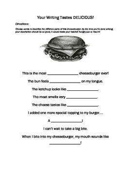 Descriptive Writing 5 Senses Food Homework Worksheet