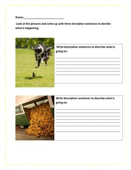 Descriptive Writing Activity With Fun Pictures....
