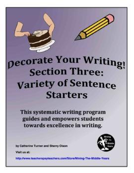 Descriptive Writing - variety of sentence starters