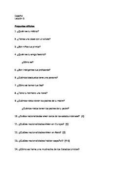 Descubre 1 - Leccion 3 - Short Answer and Paragraph prompts