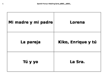 Descubre español, Unidad 5, Nivel F, Matching Game of Pronouns