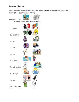 Desear y Deber Spanish worksheet