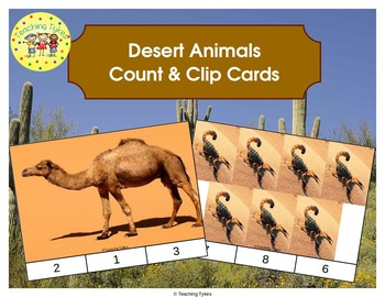 Desert Animals Count and Clip Task Cards
