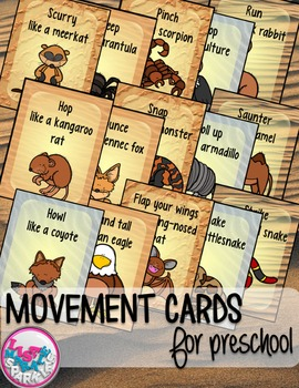 Desert Animals Movement Cards for Preschool