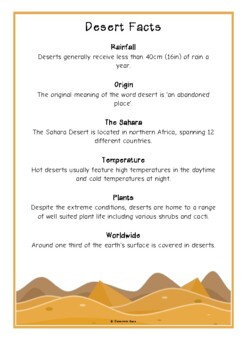 Desert Fact Cards
