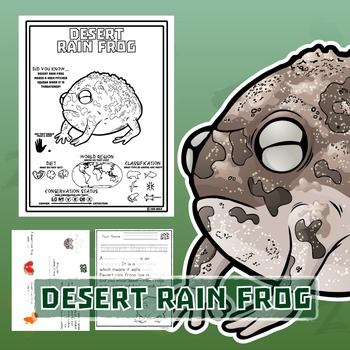 Desert Rain Frog -- 10 Resources -- Coloring Pages, Readin