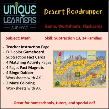 Desert Roadrunner Folder Game Subtraction 13 14