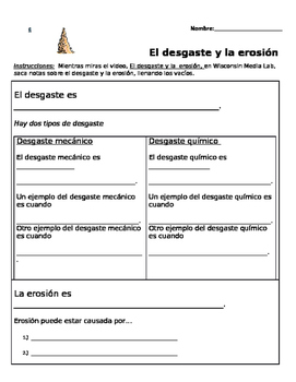 Desgaste y la erosión/ Weathering and Erosion-Spanish