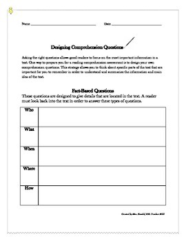 Designing Comprehension Questions