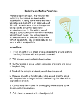 Designing and Testing Parachutes Lab