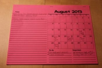 Desk Calendar 2013-2014 School Year