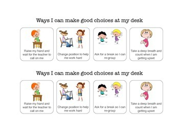 Social Story: Desk Cue - Ways to make good choices in the