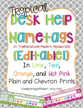 Desk Help Nametags in Tropical Colors: Lime, Teal, Hot Pin
