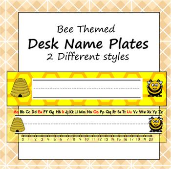 Desk Name Plate - Bee Theme - ZisforZebra