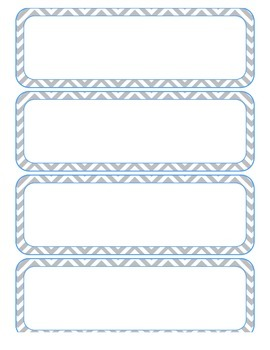 Desk Name Plates (PDF) - Gray Chevron with Blue Highlights