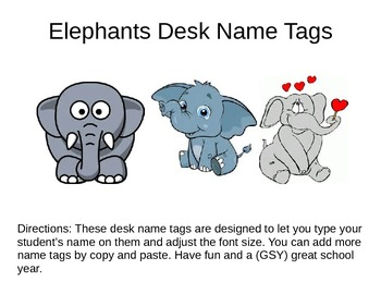 Desk Name Plates -- Elepants