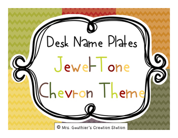 Desk Name Plates - Jewel Tone Chevron Theme