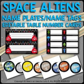 Desk Name Plates, Name Tags, Editable Table Cards - Space