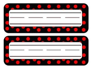 Desk Name Plates - Red/Black DOTS