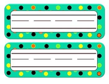 Desk Name Plates - Teal, Orange, Black, Yellow, Lime Green DOTS
