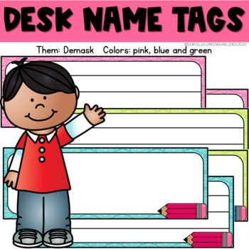 Desk Name Tags - Damask