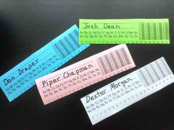 Desk Name Tags with Alphabet, Number Line, and Hundreds Chart