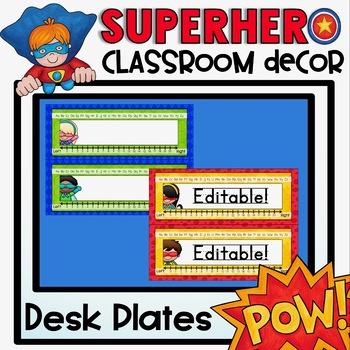 Desk Plates {Superhero Classroom Decor Theme}