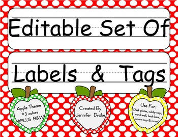 Desk Plates, Labels, Tags & More! ***EDITABLE***  ~Apple Theme~