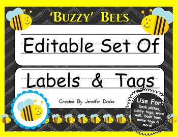 Desk Plates, Labels, Tags & More!  ***EDITABLE*** ~Buzzy B