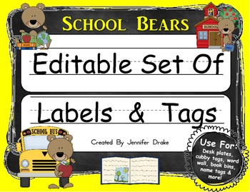 Desk Plates, Labels, Tags & More!  ***EDITABLE***  ~School