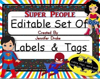 Desk Plates, Labels, Tags & More!  ***EDITABLE*** ~Super P