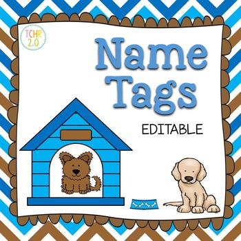 Desk Plates Name Tags Back to School Dogs