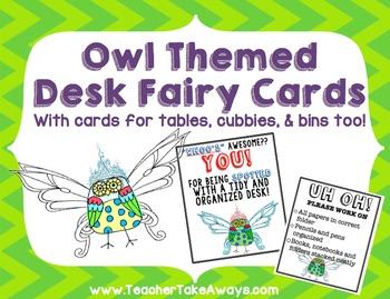 Desk, Table, Cubby, Bin Fairy Owl Themed Cards