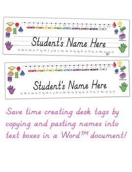 Desk Tags - Primary - D'nealian