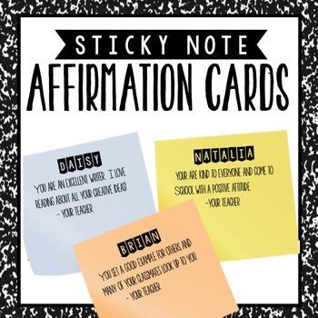 Post it Affirmation Cards - Positive Reinforcement