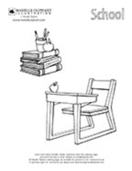 Desk and Books Coloring Page
