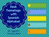 Spanish Desk Name Plates / Desk Name Tags with Spanish Alp