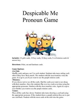 Despicable Me Game (Pronouns)